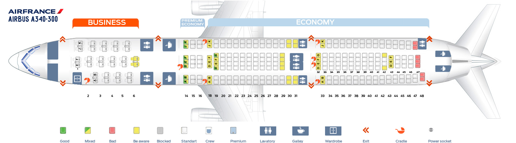 Seat Map Airbus A340-300 Air France