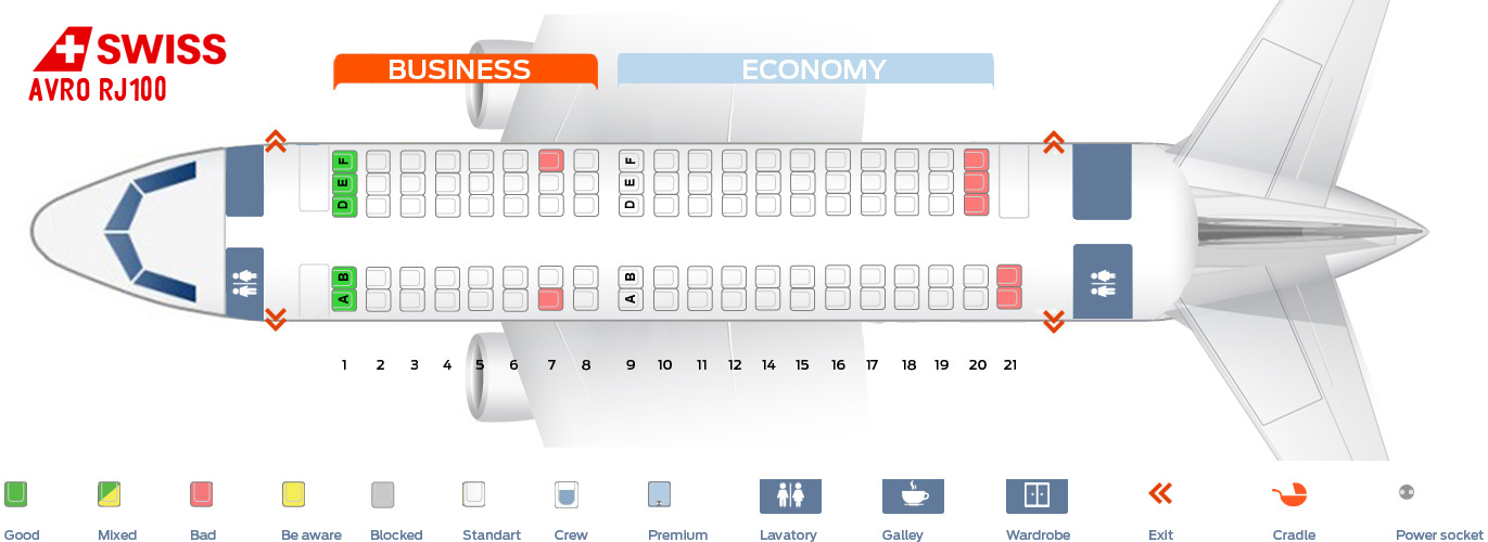 Seat Map Avro RJ100 Swiss Airlines