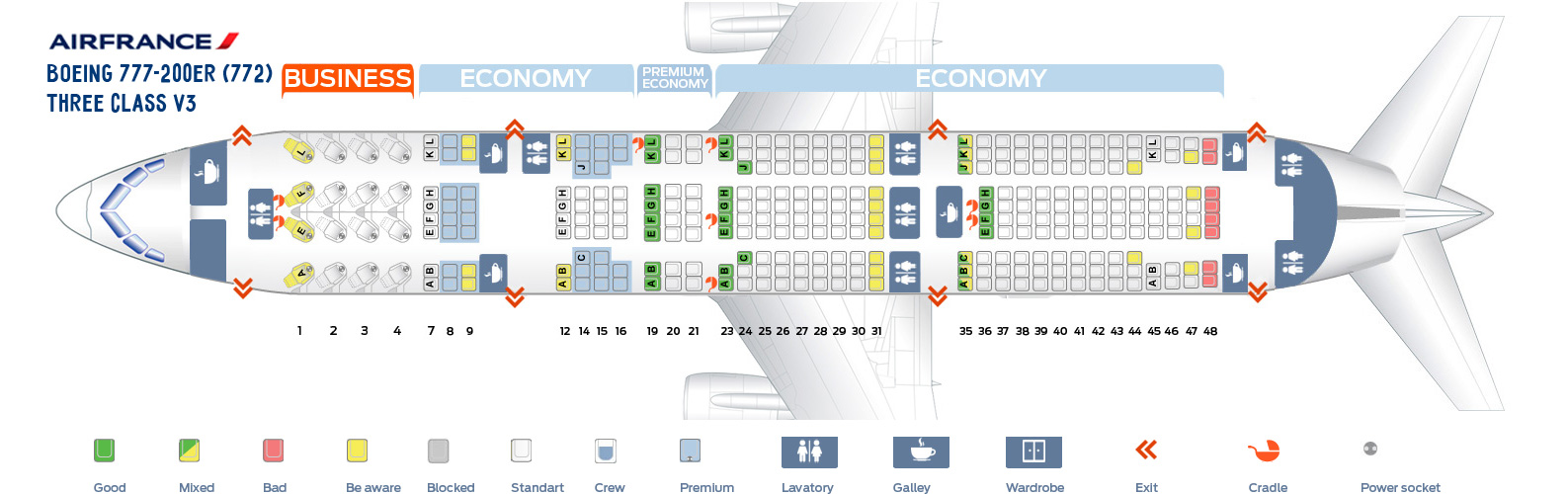 Seat Map Boeing 777-200ER Three Class V3 AirFrance