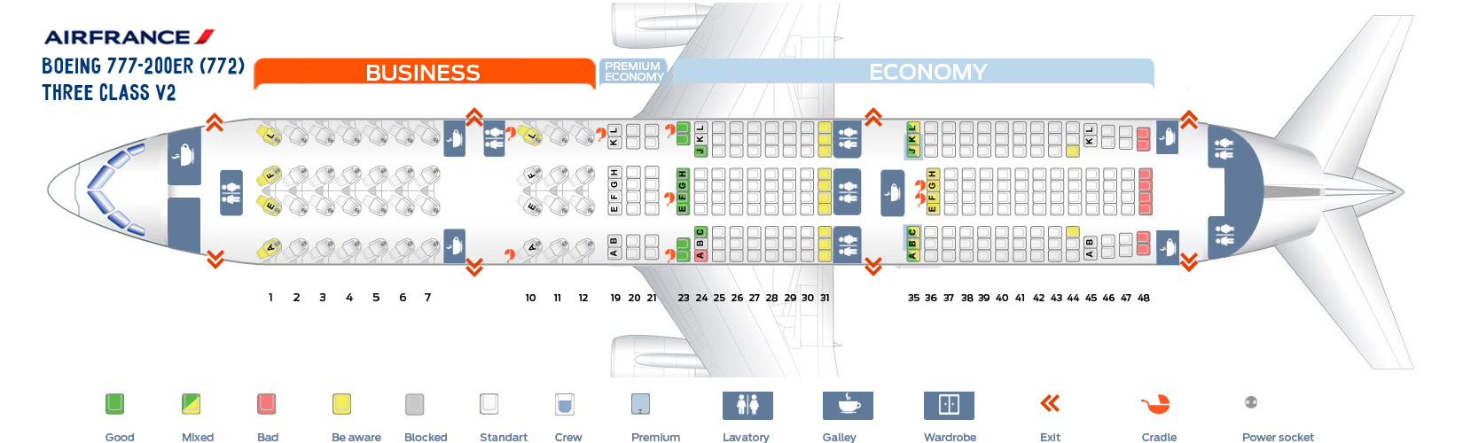 Seat Map Boeing 777-200ER Three Class V2 AirFrance