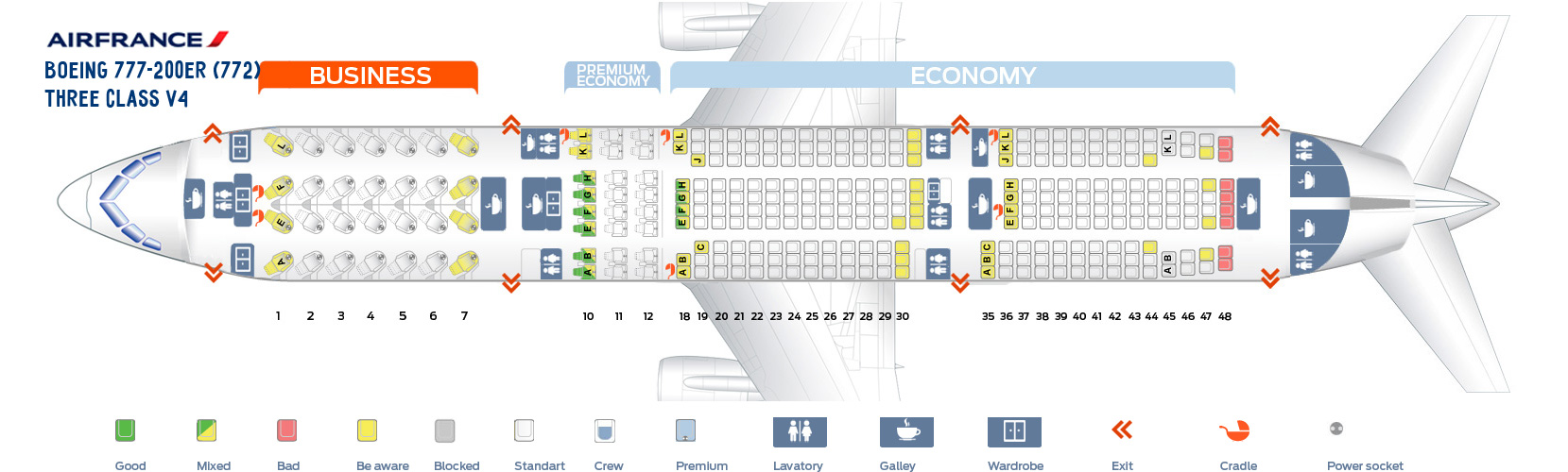 Seat Map Boeing 777-200ER Three Class V4 AirFrance