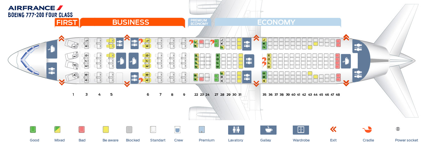 Seat Map Boeing 777-200 Four Class Air France