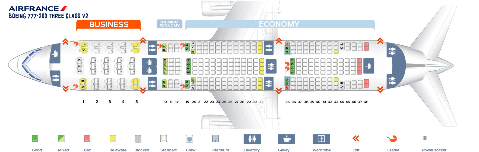 Seat map boeing 777 200 air france best seats in plane for Plan de cabine boeing 777 200 air france