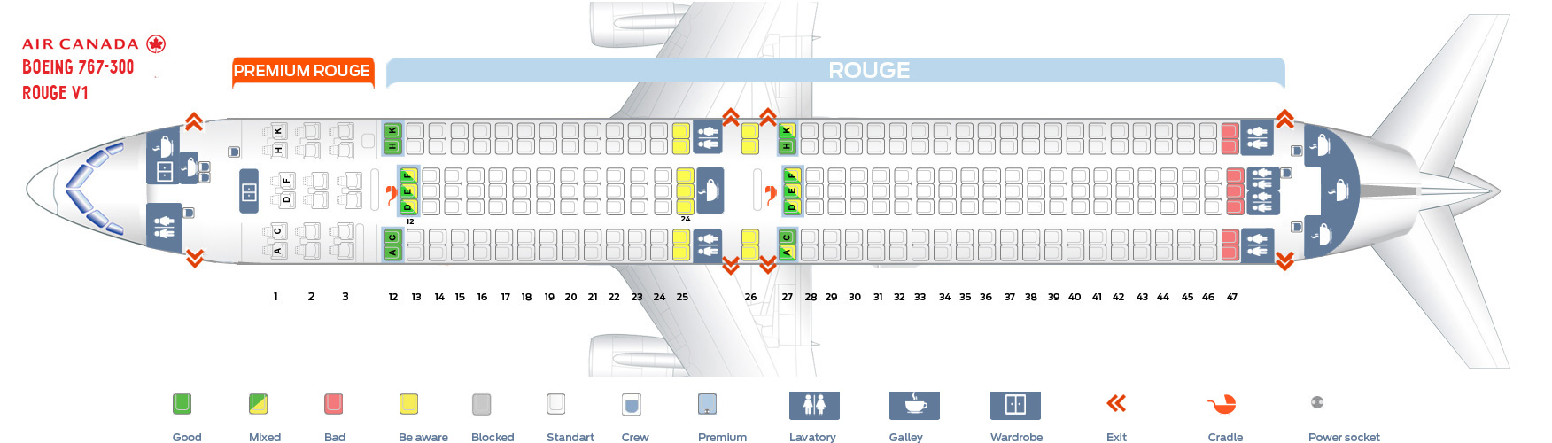 Seat map Air Canada Boeing-767-300 Rouge version 1