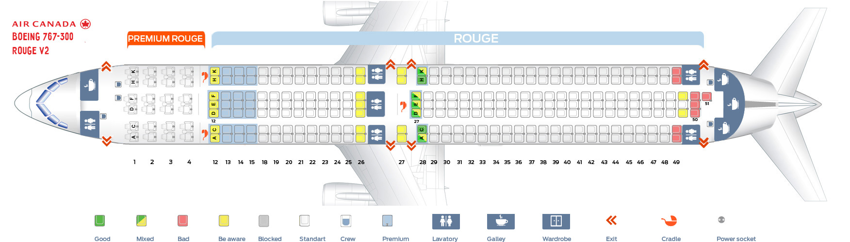 Seat map Air Canada Boeing-767-300 Rouge version 2