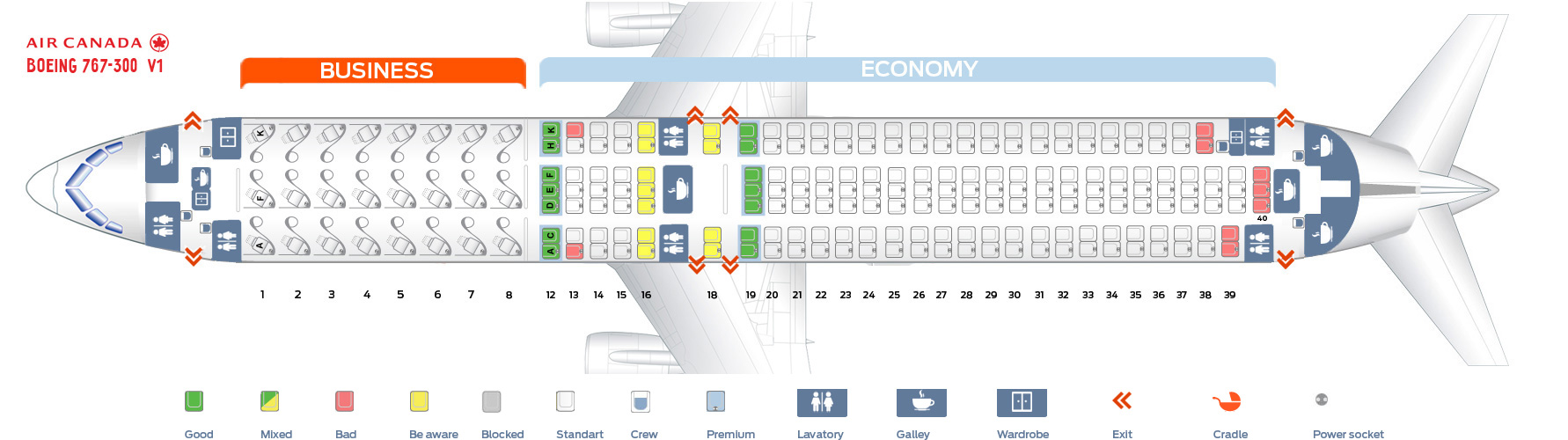 Seat map Air Canada Boeing-767-300 v1
