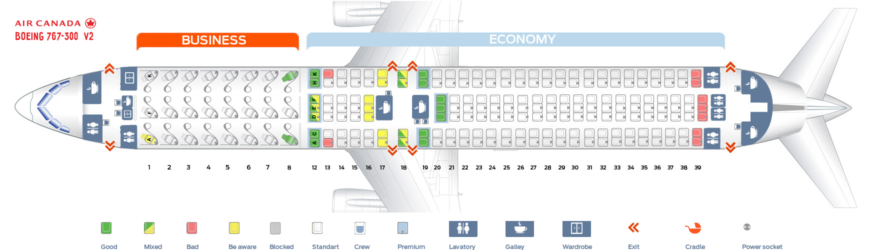 Seat map Air Canada Boeing-767-300 version 2