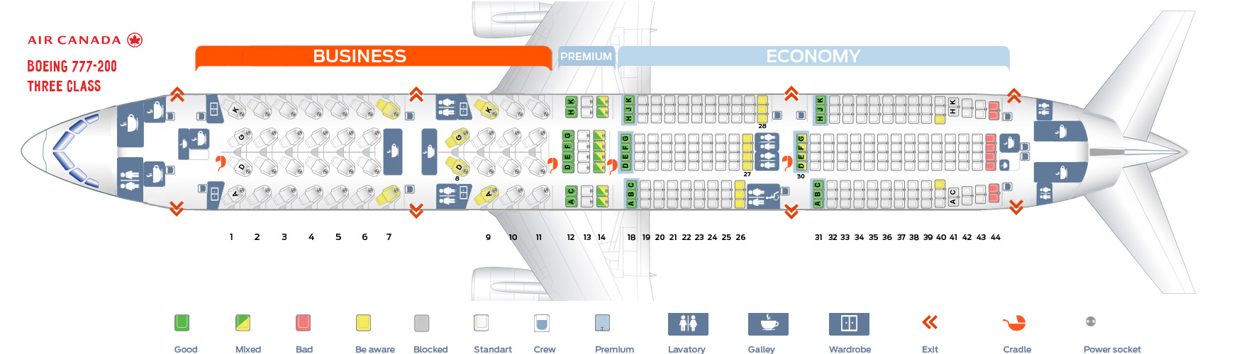 Seat map Air Canada Boeing 777-200 Three Class