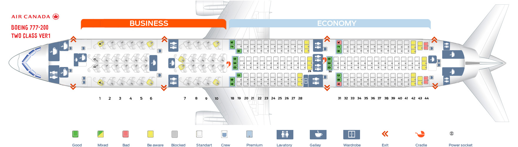 Seat map Air Canada Boeing-777-200 Two Class version 1