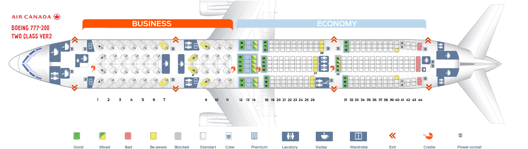 Seat map Air Canada Boeing-777-200 Two Class version 2