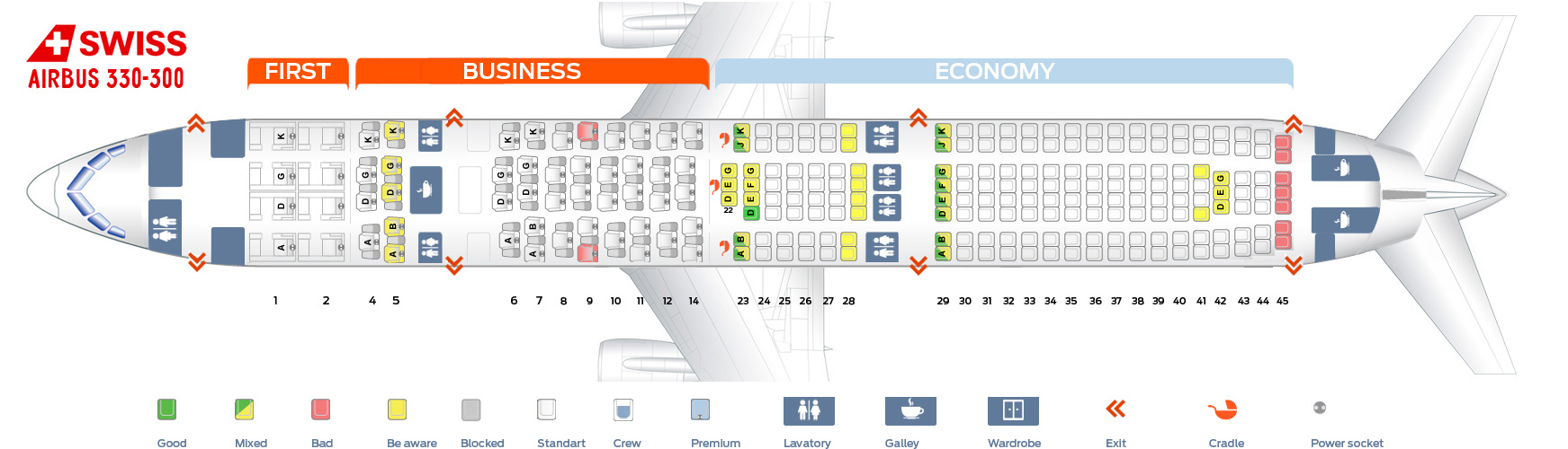 Seat map Airbus A330-300 Swiss Airlines