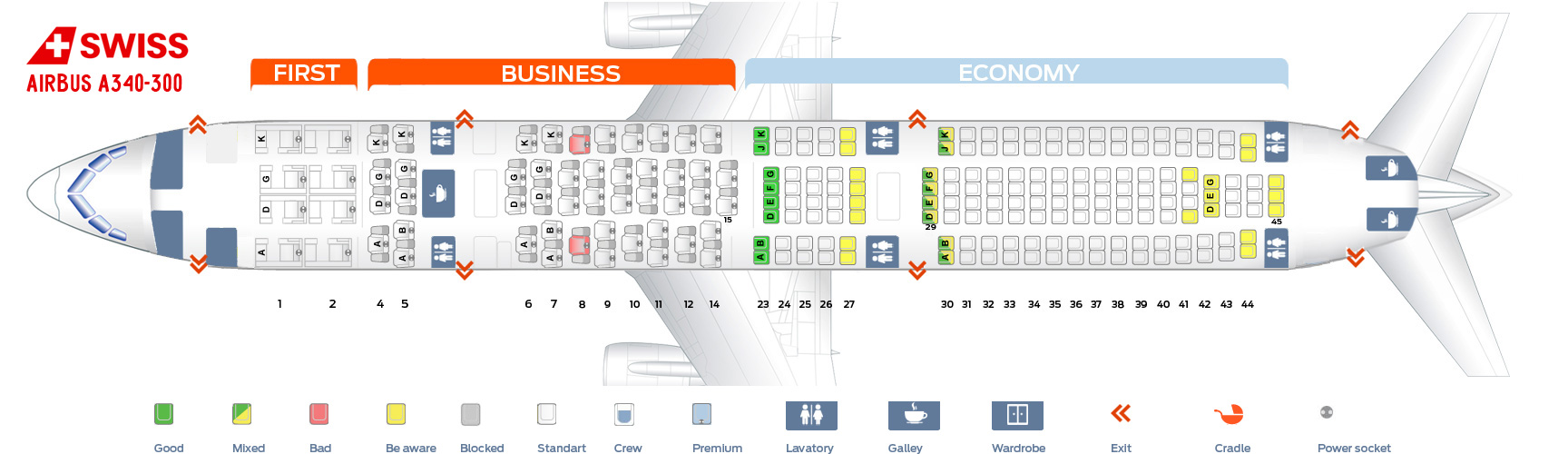 Swiss Airlines Seat Map Airbus A340-300