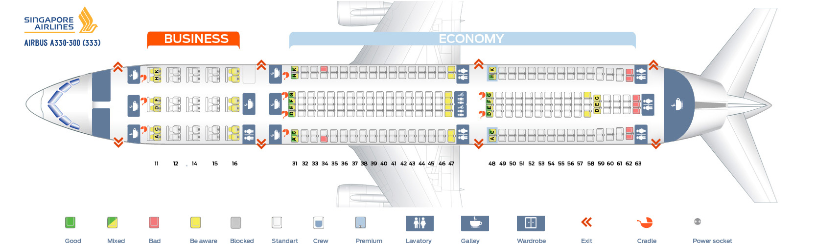 Seat map Airbus A330-300 Singapore Airlines. Best seats in plane