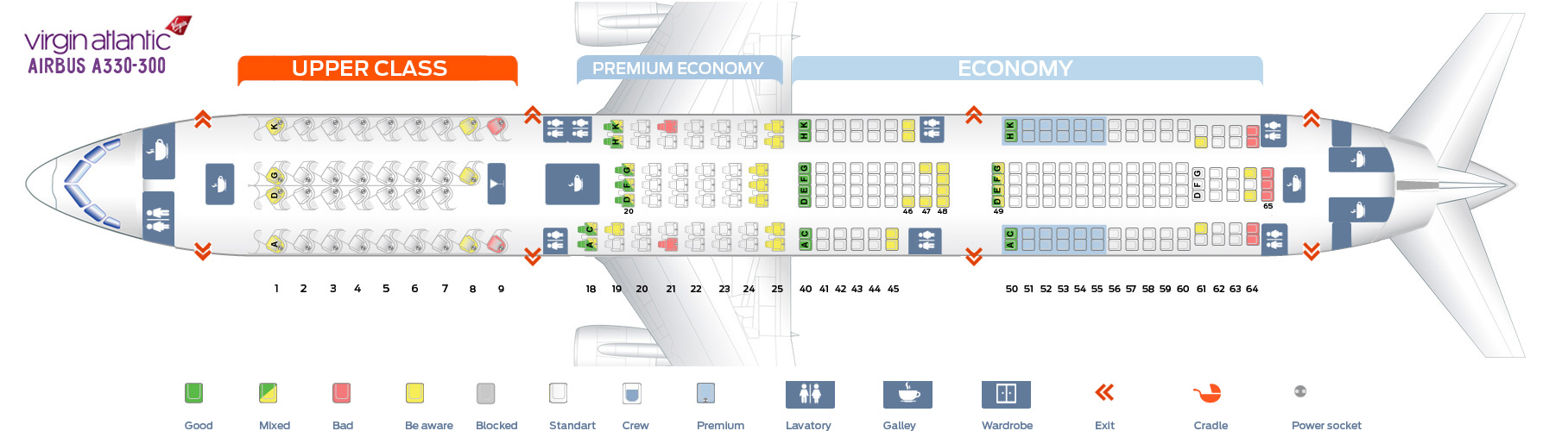 Seat map Airbus A330-300 Virgin Atlantic. Best seats in plane - photo#45