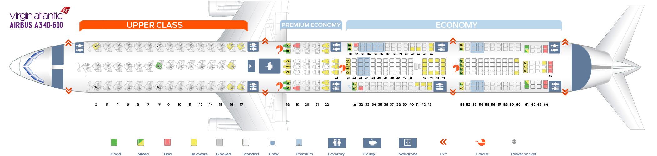 Seat Map Airbus A340-600 Virgin Atlantic