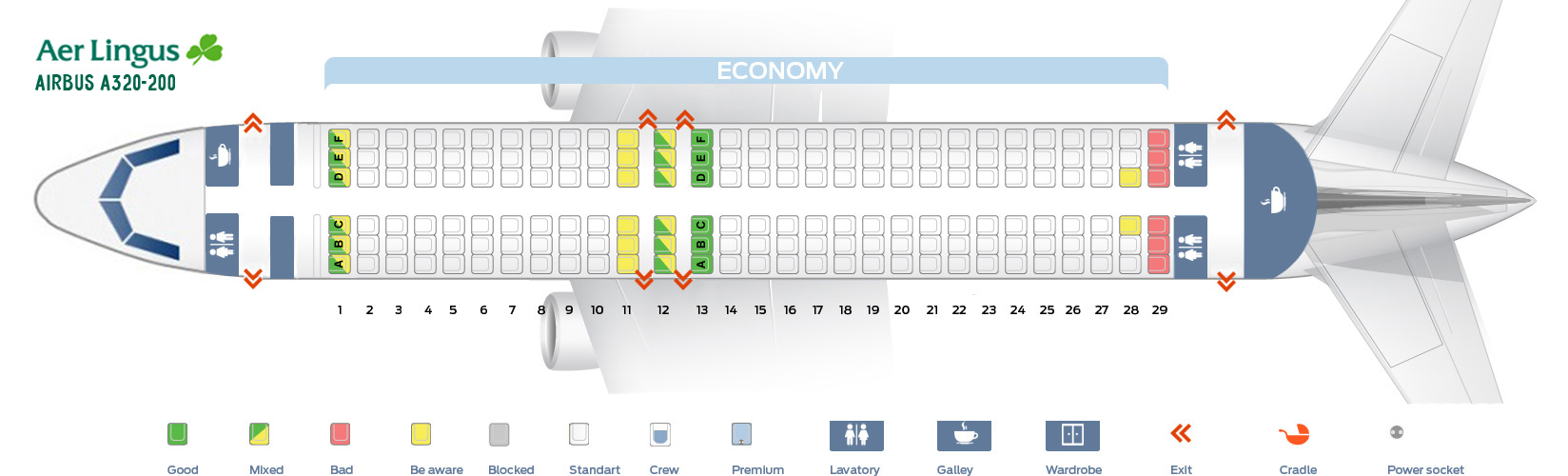 Seat map Airbus A320-200 Aer Lingus