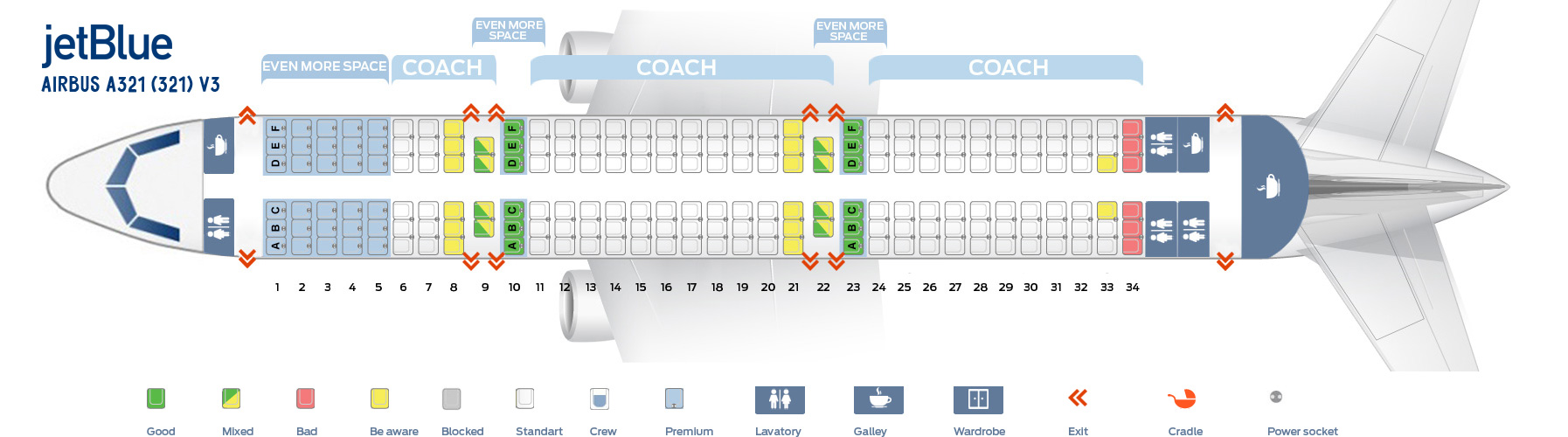 Seat Map Airbus A321-200 V3 JetBlue