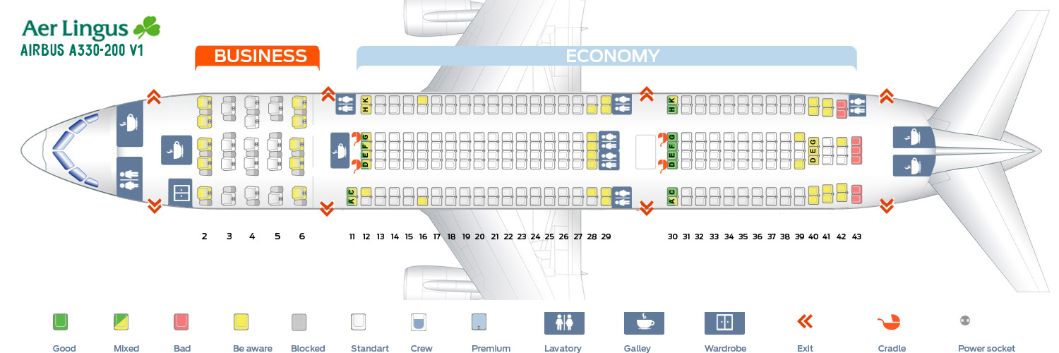 Seat map Airbus A330-200 V1 Aer Lingus