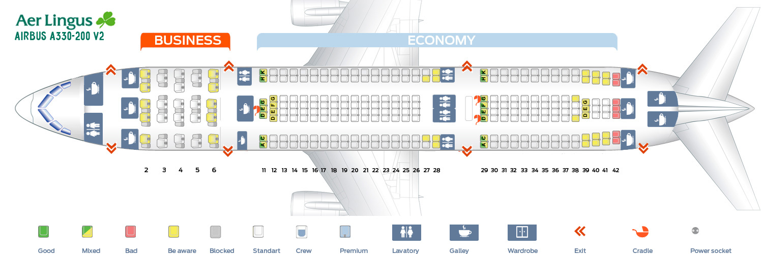 Seat map Airbus A330-200 V2 Aer Lingus