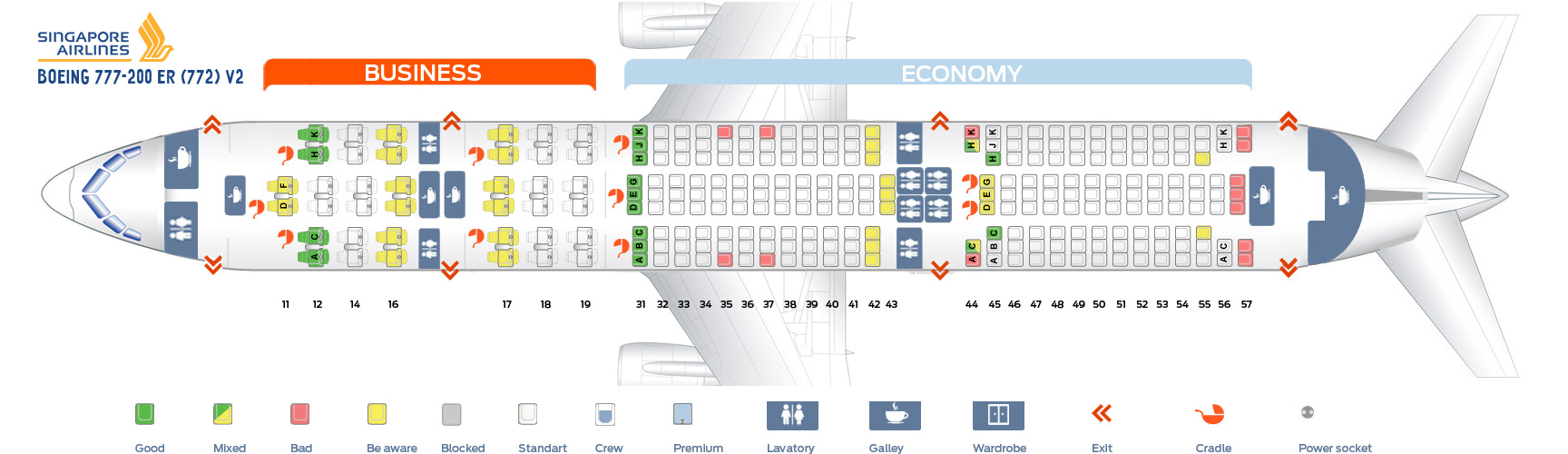 Seat Map Boeing 777-200ER V2 Singapore Airlines