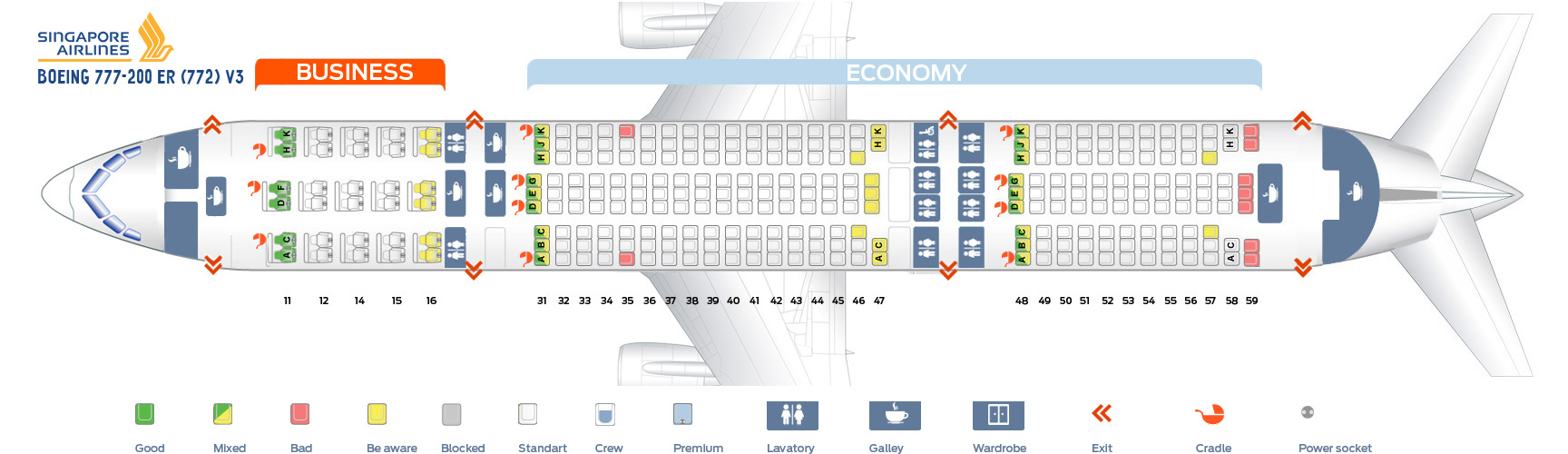 Seat Map Boeing 777-200ER V3 Singapore Airlines