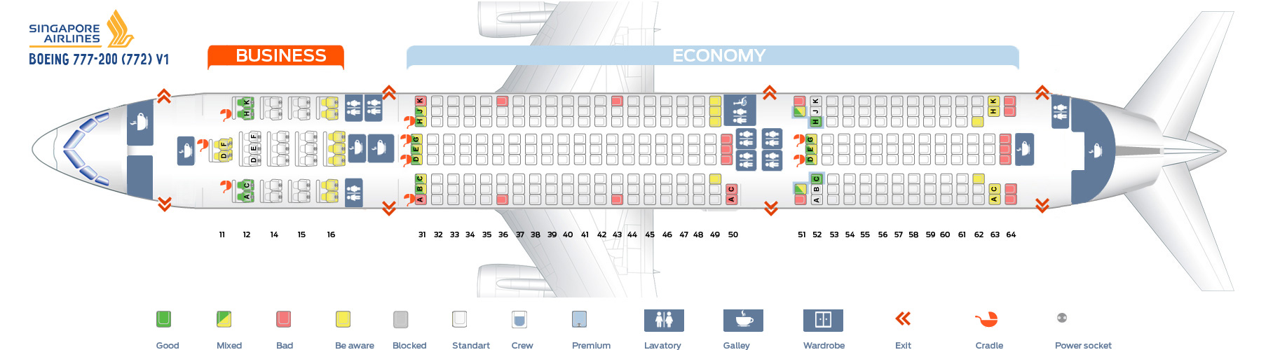 Seat Map Boeing 777-200 V1 Singapore Airlines