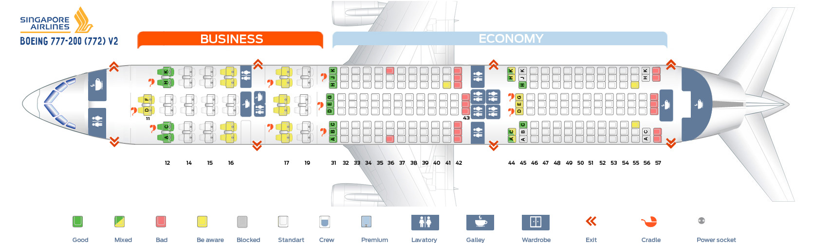 Seat Map Boeing 777-200 V2 Singapore Airlines