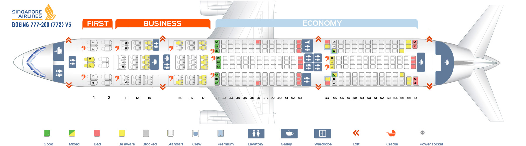 Seat Map Boeing 777-200 V3 Singapore Airlines