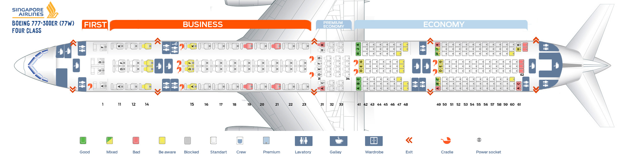 Seat Map Boeing 777-300ER Four Class Singapore Airlines