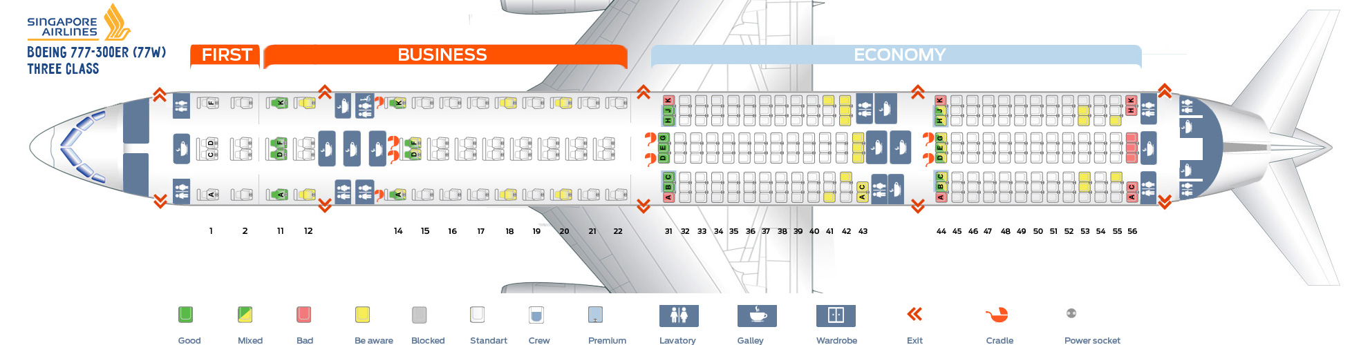 Seat Map Boeing 777-300ER Three Class Singapore Airlines