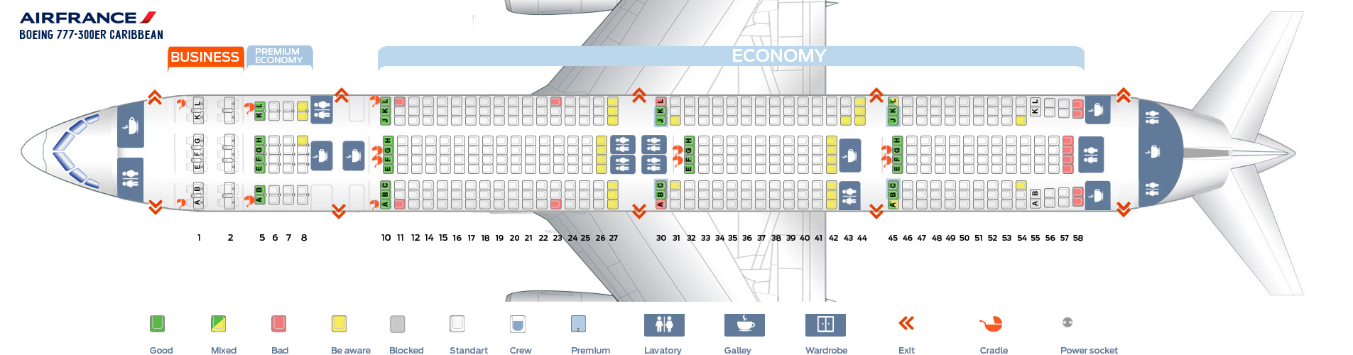 Seat Map Boeing 777-300 ER Carribean Air France
