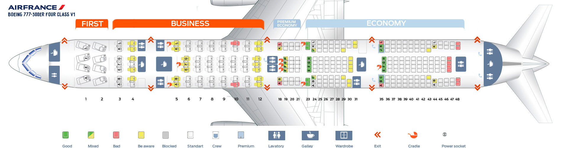 Seat Map Boeing 777-300 ER Four class V1 Air France