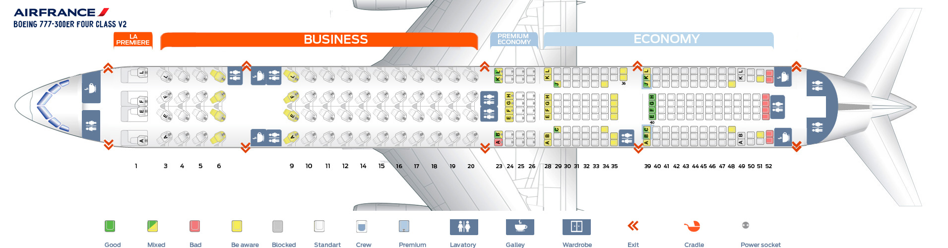 Seat Map Boeing 777-300 ER Four class V2 Air France