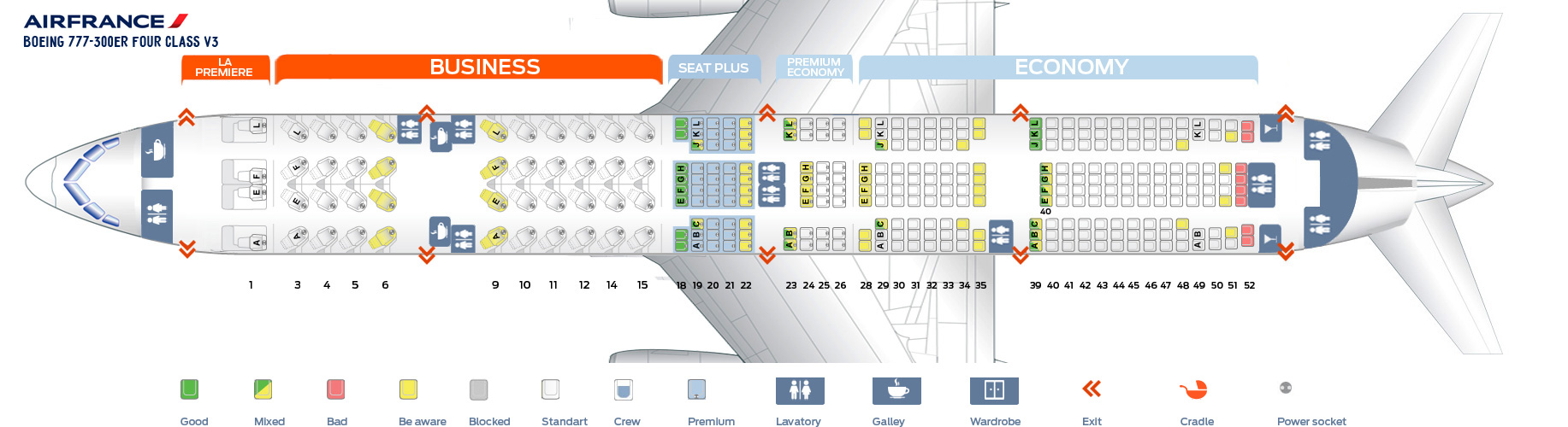 Seat Map Boeing 777-300 ER Four Class V3 Air France