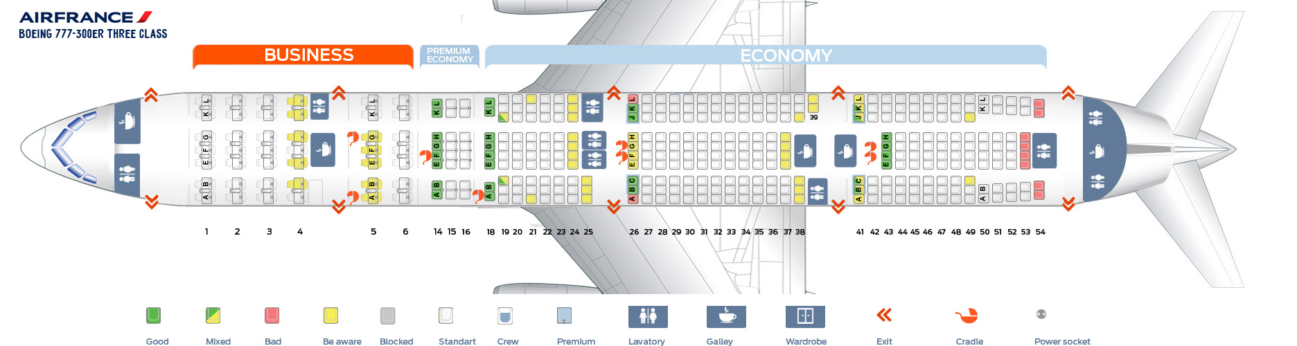 Seat Map Boeing 777-300 ER Three Class Air France