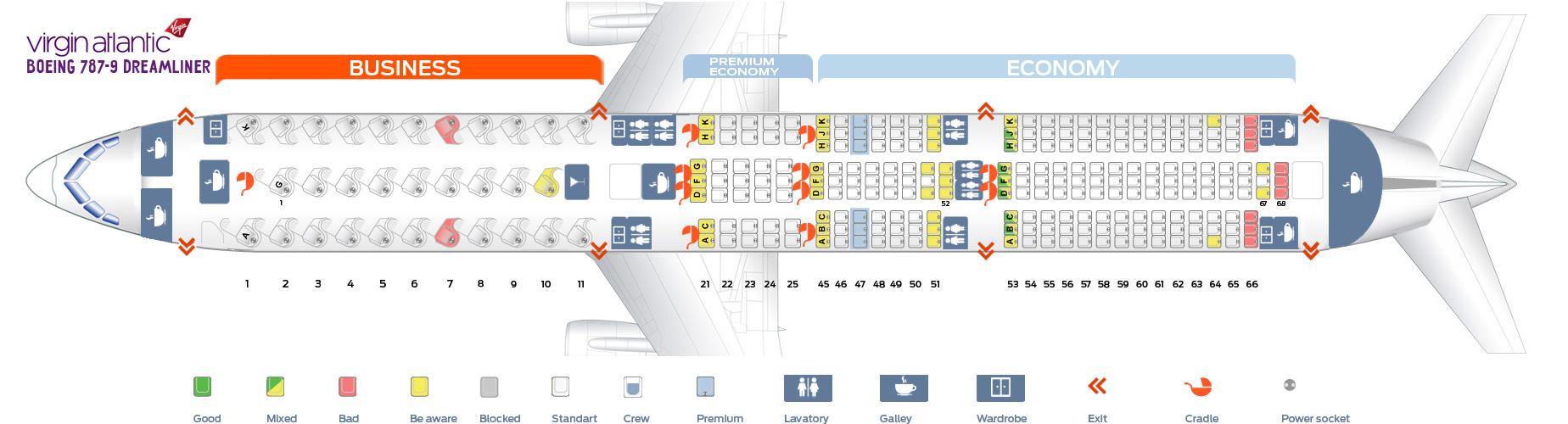 Seat Map Boeing 787-9 Dreaminer Virgin Atlantic