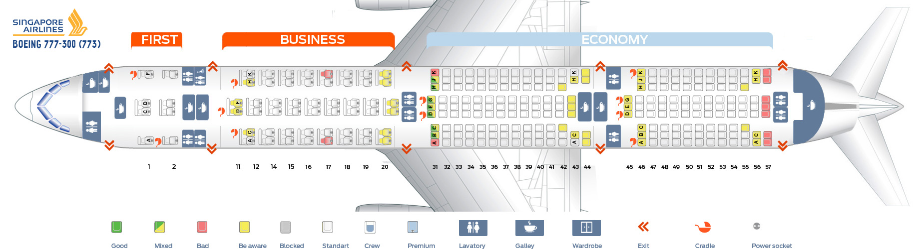 Seat Map Boeing 777-300 Singapore Airlines