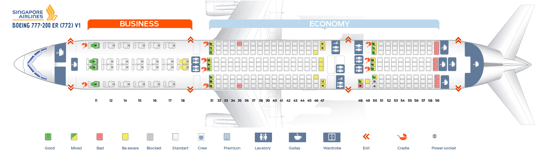 Seat Map Boeing 777-200ER V1 Singapore Airlines