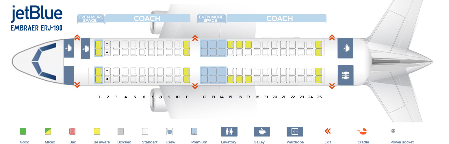 Seat map Embraer ERJ 190 JetBlue. Best seats in plane