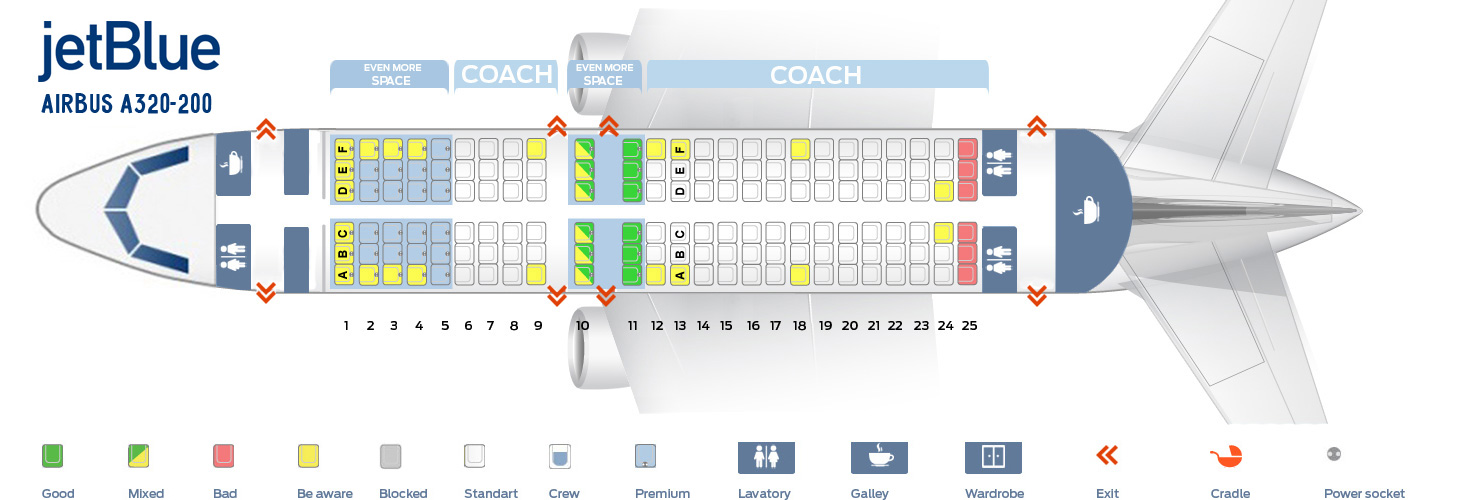 Seat map Airbus A320 200 JetBlue. Best seats in plane