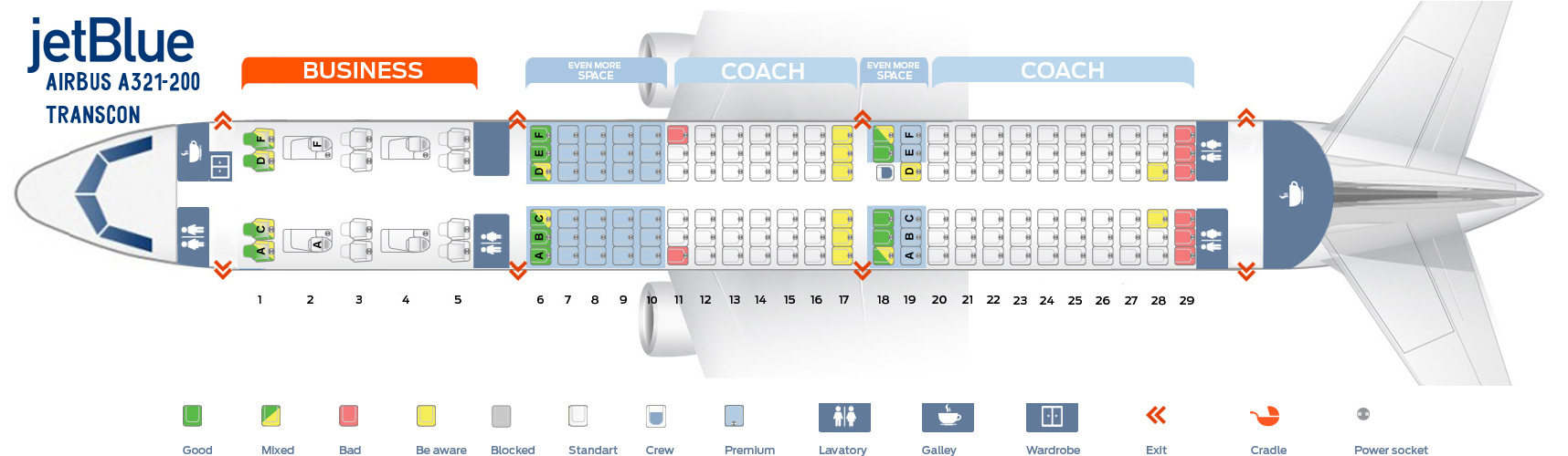 Jetblue Airways Seat map Airbus A321-200 Transcon