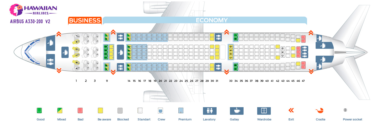 Seat map Airbus A330-200 Hawaiian airlines V2