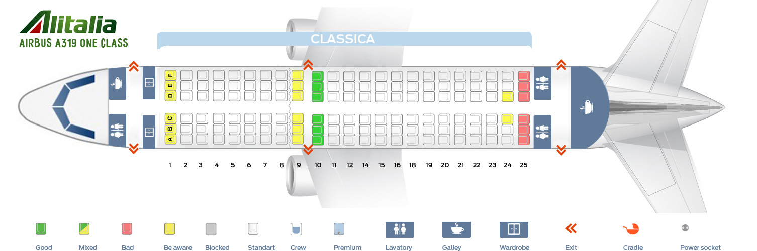 Seat Map Airbus A319 One Class Alitalia Airlines