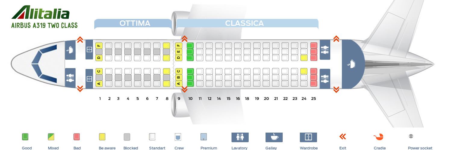Seat Map Airbus A319 Two Class Alitalia Airlines
