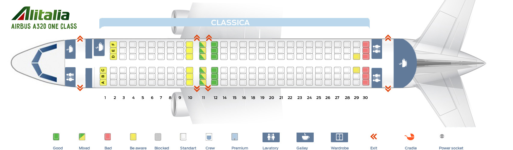 Seat Map Airbus A320 One Class Alitalia Airlines