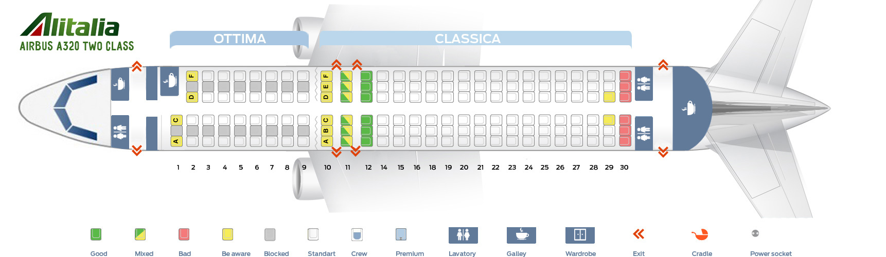 Seat Map Airbus A320 Two Class Alitalia Airlines