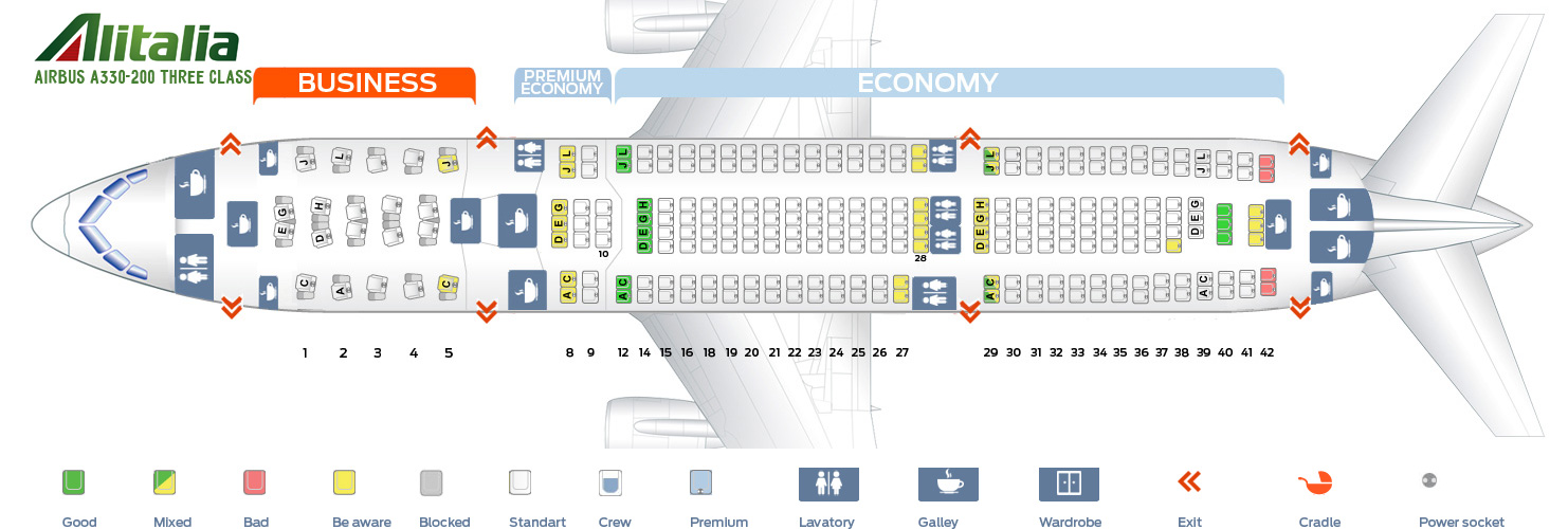 Seat map Airbus A330-200 Three Class Alitalia