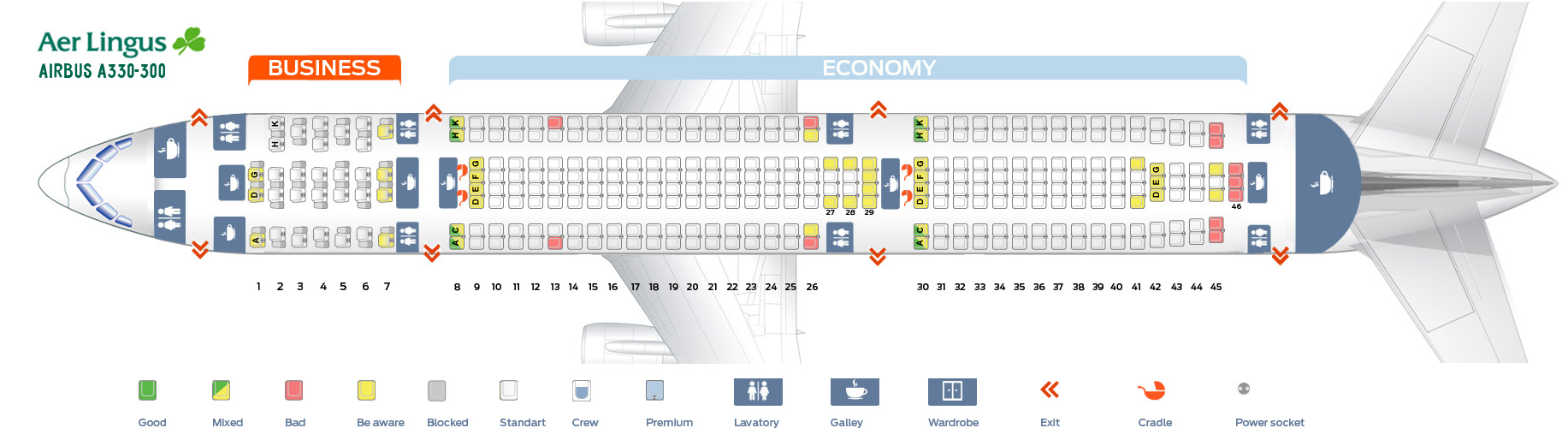 Seat map Airbus A330-300 Aer Lingus