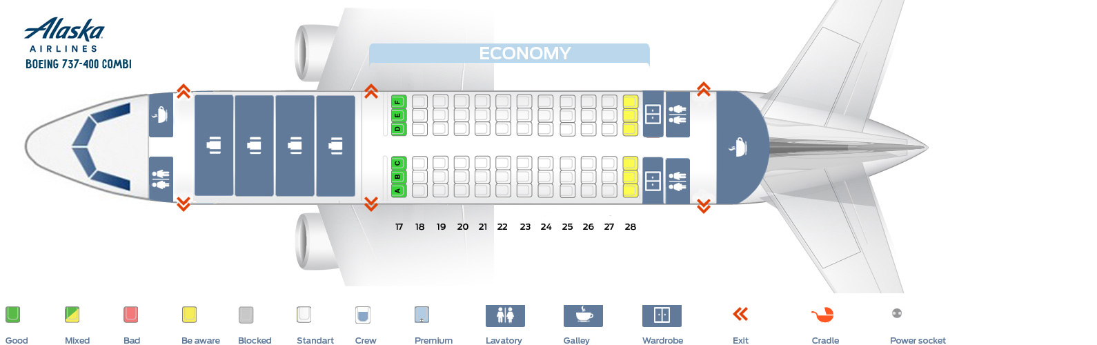Seat map Boeing 737-400 Alaska Airlines. Version 2 Combi