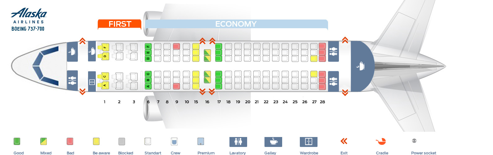 Seat map Boeing 737-700 Alaska Airlines